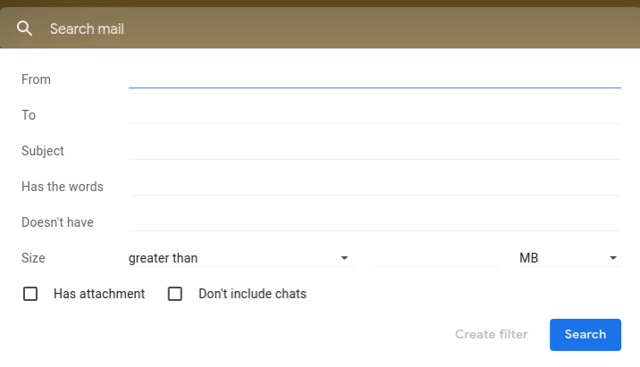 Create a new filter in Gmail