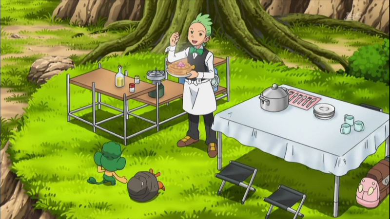 Cilan from Unova cooking for everyone.