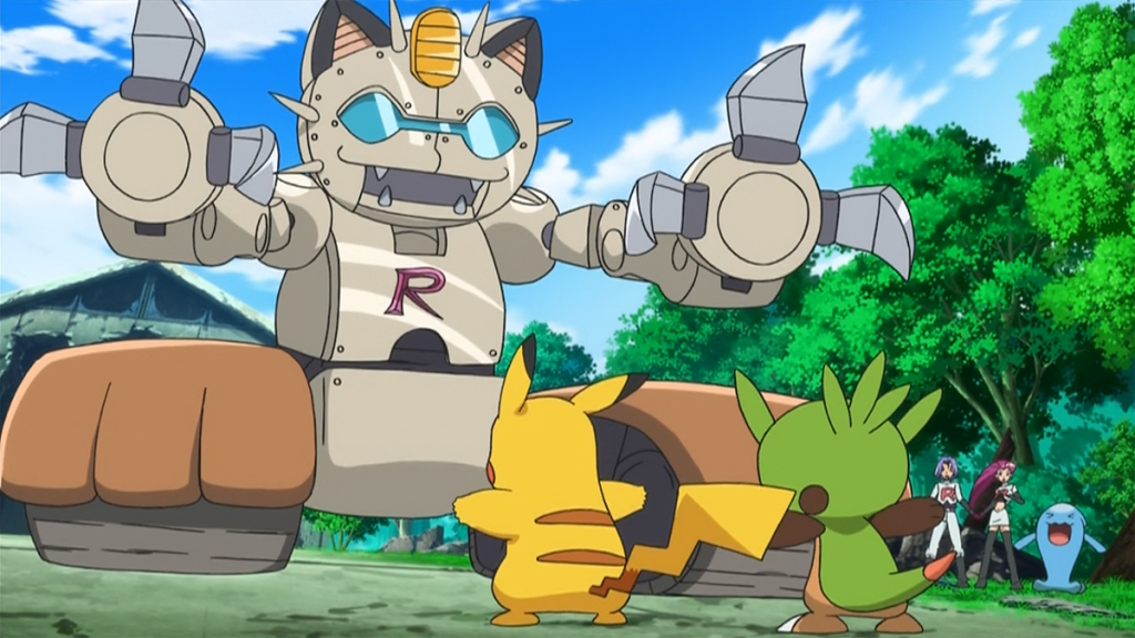 team rocket's meowth-inspired mecha