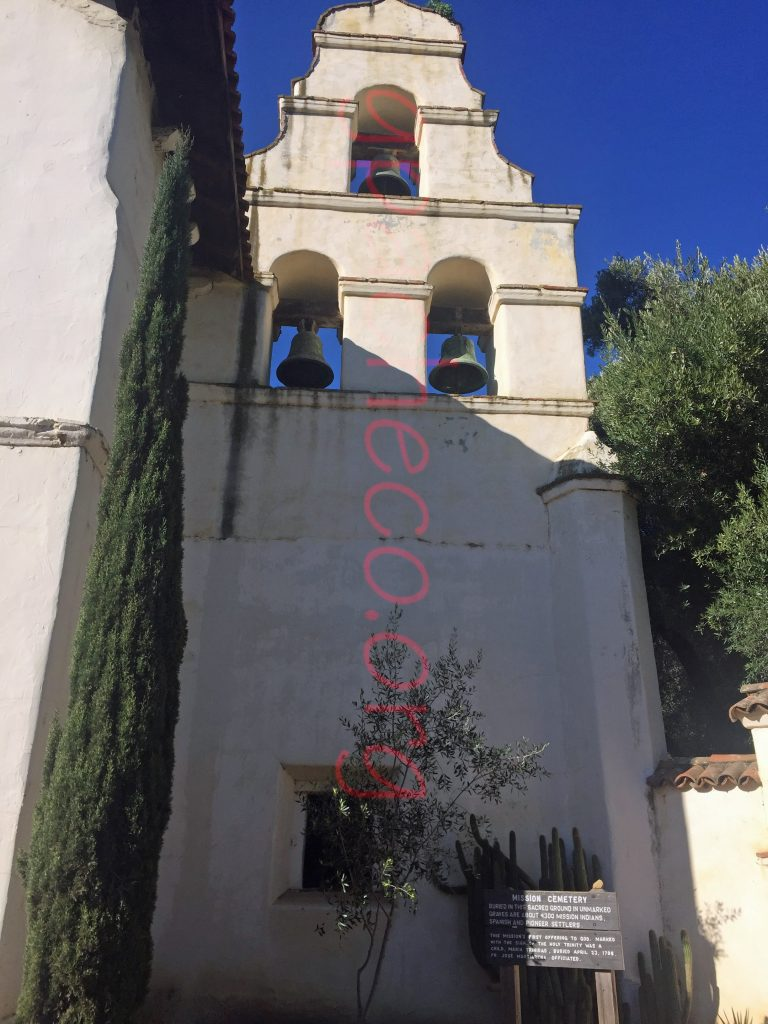The famous bell tower of San Juan Bautista