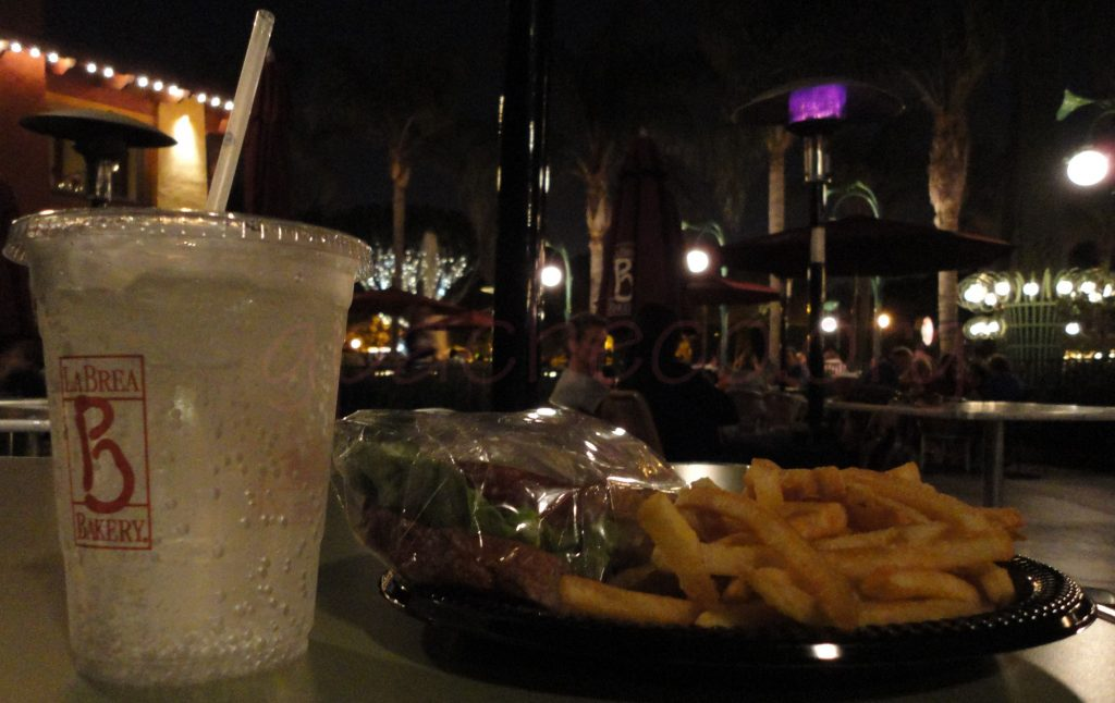 Caption: picture of one of my favorite quick dining options, a turkey sando, fries, and Sprite from La Brea Bakery in Downtown Disney